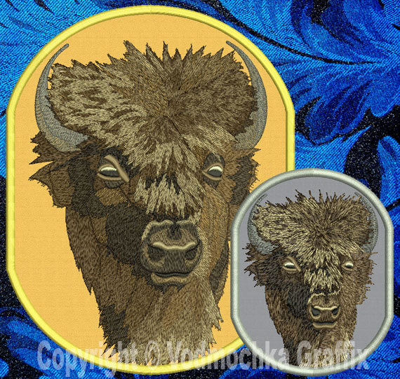Bison American Buffalo High Definition Embroidery Portrait 1
