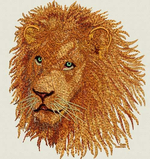 Lion High Definition Portrait 3 Embroidery Design Vodmochka